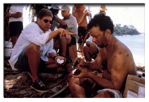 Director Robert with Tom Hanks, on set